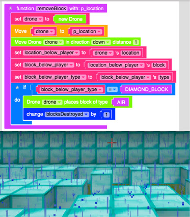 Don't forget code to make the blocks disappear.