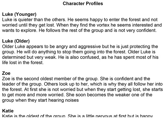 Writing profiles can help you create interesting characters.