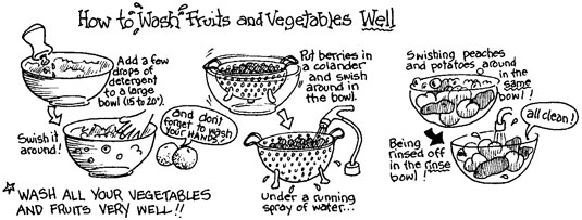 Washing your fruits and vegetables. [Credit: Illustration by Elizabeth Kurtzman]