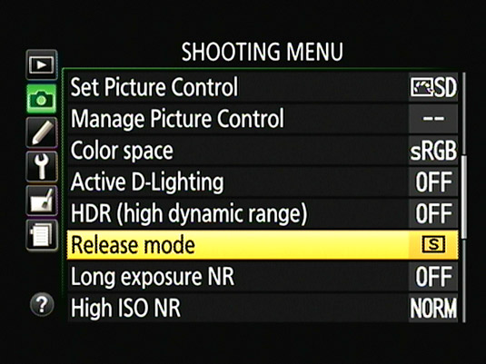 The Release Mode option is also found on the Shooting menu.