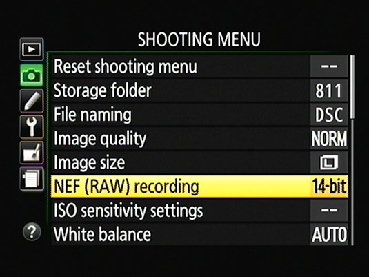 For Raw files, you can specify how many bits of color data you want to record.