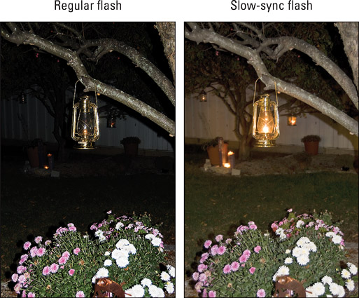 Slow‐sync flash produces softer, more even lighting than normal flash in nighttime pictures.