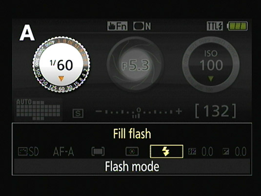 The fastest way to change the Flash mode is to hold down the Flash button and rotate the Command di
