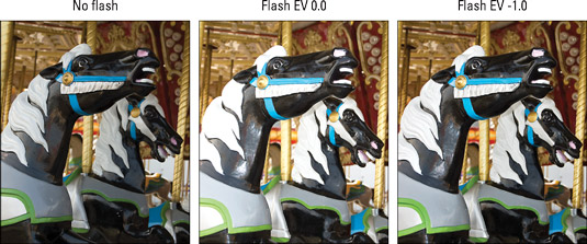 When normal flash output is too strong, dial in a lower Flash Compensation setting.