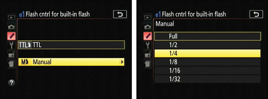 Using this option, you can control the flash output manually.