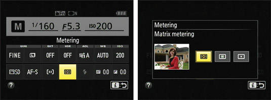 Change the Metering mode setting via the control strip.