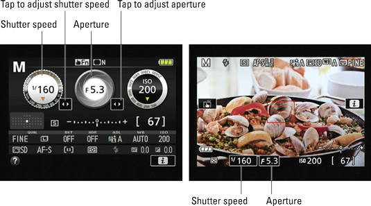 You can view the current f‐stop and shutter speed on the Information display and Live View sc