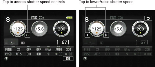 You can use these touchscreen controls to adjust shutter speed.