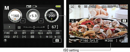 The ISO setting appears in the Information and Live View displays.