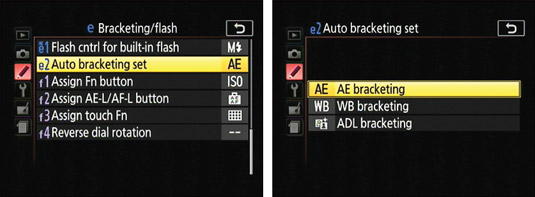 Before enabling auto bracketing, select the feature you want the camera to adjust between shots.