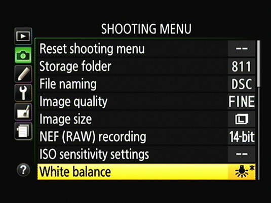 The asterisk next to the White Balance setting name indicates that you applied a fine‐tuning