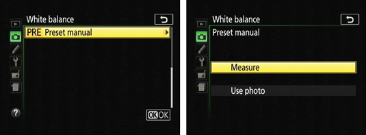 Select these options to set white balance by measuring a white or gray card.