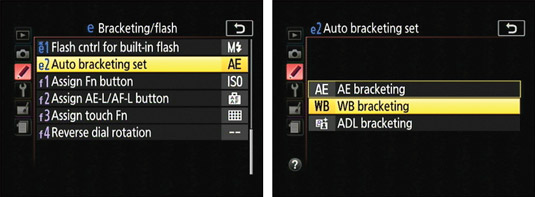 Tell the camera you want to bracket white balance by way of this Custom Setting menu option.