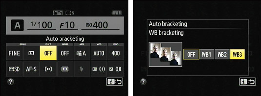 Enable bracketing and set the amount of color shift from the control strip.