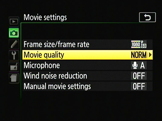 This option determines the movie bit rate, which affects playback quality and file size.