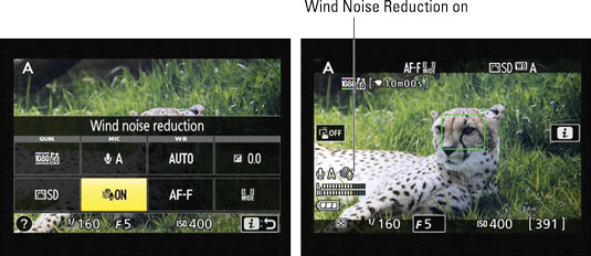 You can access the Wind Noise Reduction setting via the control strip, as shown on the left; the sy