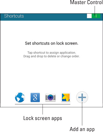 Managing Lock screen shortcuts.