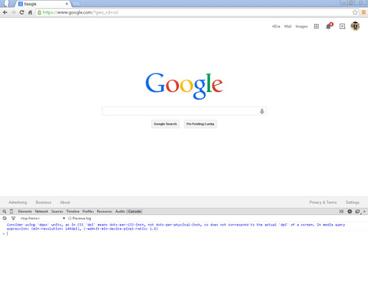 JavaScript Console in the Chrome browser.
