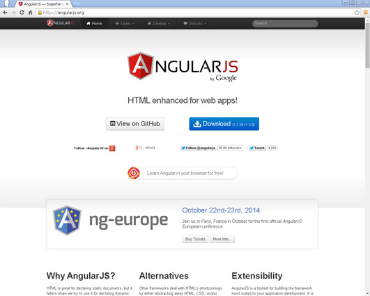 Angular.js is an open source JaveScript application framework designed to improve testability and performance.