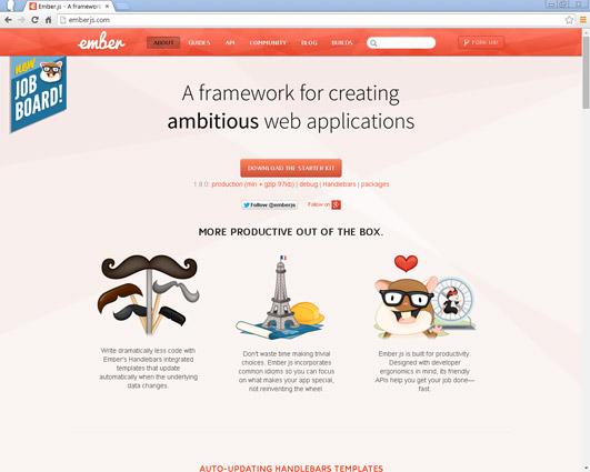 Like Backbone, Ember is an MVC JavaScript framework designed for creating single-page web applications.