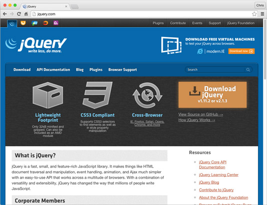 "JQuery is the ""Write Less, Do More"" JavaScript library. An indispensable tool for most JavaScript programmers."