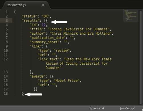 Highlighting matching brackets in Sublime Text.