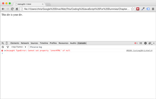 Referencing HTML before it is loaded results in an error.