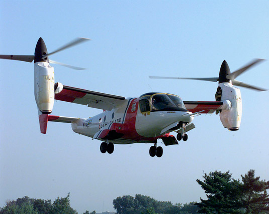 Tiltrotor aircraft. [Credit: Source:United States Coast Guard, PA3 Bridget Hieronymu]