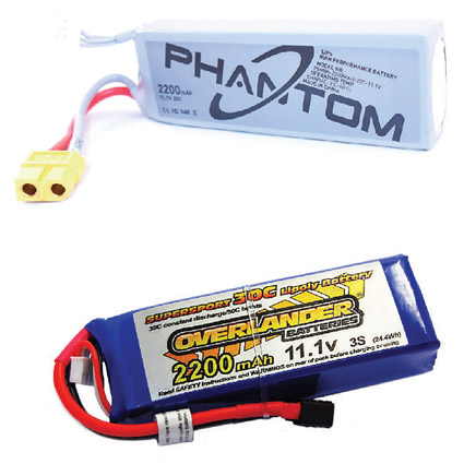 Shows two LiPo drone batteries, both aftermarket and brand-specific. [Credit: Courtesy of Mark LaFa