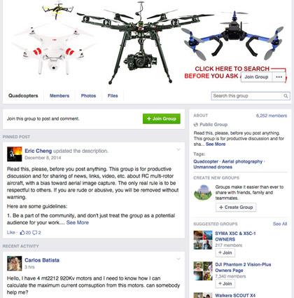 Quadcopters Facebook Group. [Credit: Courtesy of Tucker Krajewski]