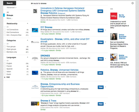 Searching for drone groups on LinkedIn yields pages of results. [Credit: Courtesy of Tucker Krajews