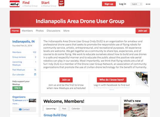 Indianapolis drone flyers Meetup. [Credit: Courtesy of Tucker Krajewski]