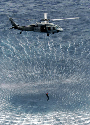 A helicopter's downwash is easy to see on the open water. [Credit: Source: Vicki Burton/Creat