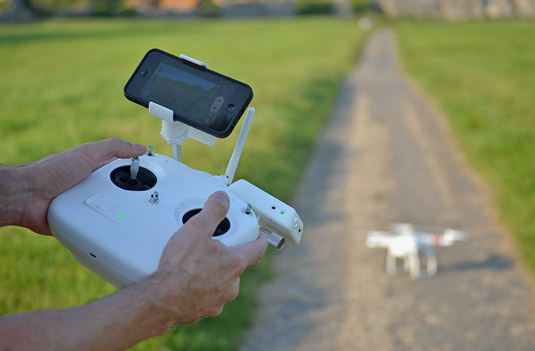 The DJI Phantom 2 remote control uses RF. [Credit: Source: Vicki Burton/Creative Commons]