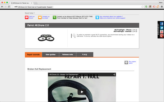 Get help with your Parrot AR Drone 2.0 online.