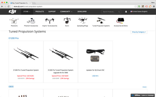Shop for replacement Phantom drone propellers at dji.com.
