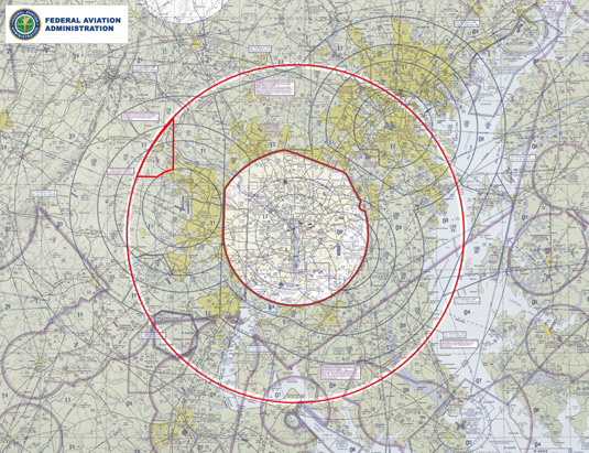 The Flight Restricted zone over Washington, D.C. [Credit: Source: faasafety.gov]