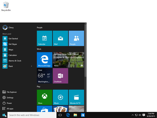 Your Start menu may be easier to work with when organized into labeled groups of related tiles.