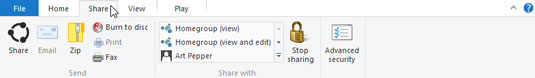 Click any Ribbon tab to see its associated commands.