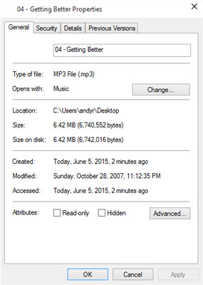 A file's Properties dialog box shows which program automatically opens it, the file's size, and oth