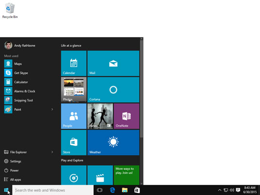 On the Start menu, click the tile for the program you want to open.