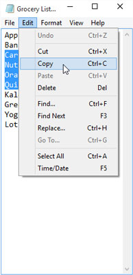 The Cut, Copy, and Paste commands on the traditional menu.