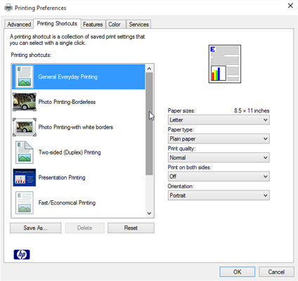 The Printing Preferences dialog box lets you change settings specific to your printer, including th