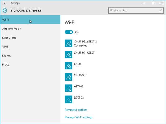 Windows lists every wireless network within range.