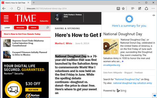 Cortana teams up with Microsoft Edge to find information about terms found online.