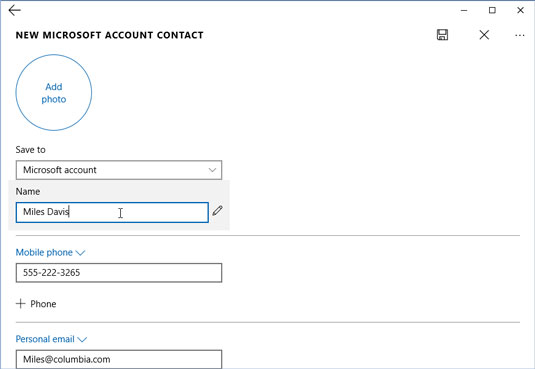 Fill in contact information and then click the Save icon.