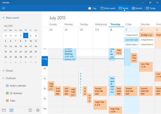 The Calendar app displays appointments you add manually or from your online calendars.