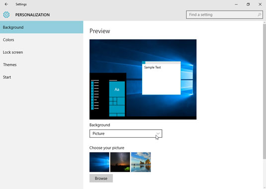 Click the drop-down list to choose between covering your desktop background with pictures or colors.