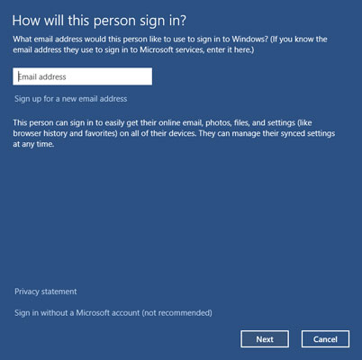 Enter an e-mail address to sign up for a Microsoft account.