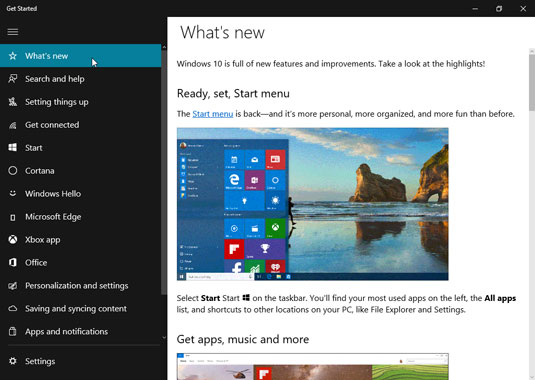 La nouvelle application Get Started propose une brève introduction à Windows 10, y compris une brève introduction